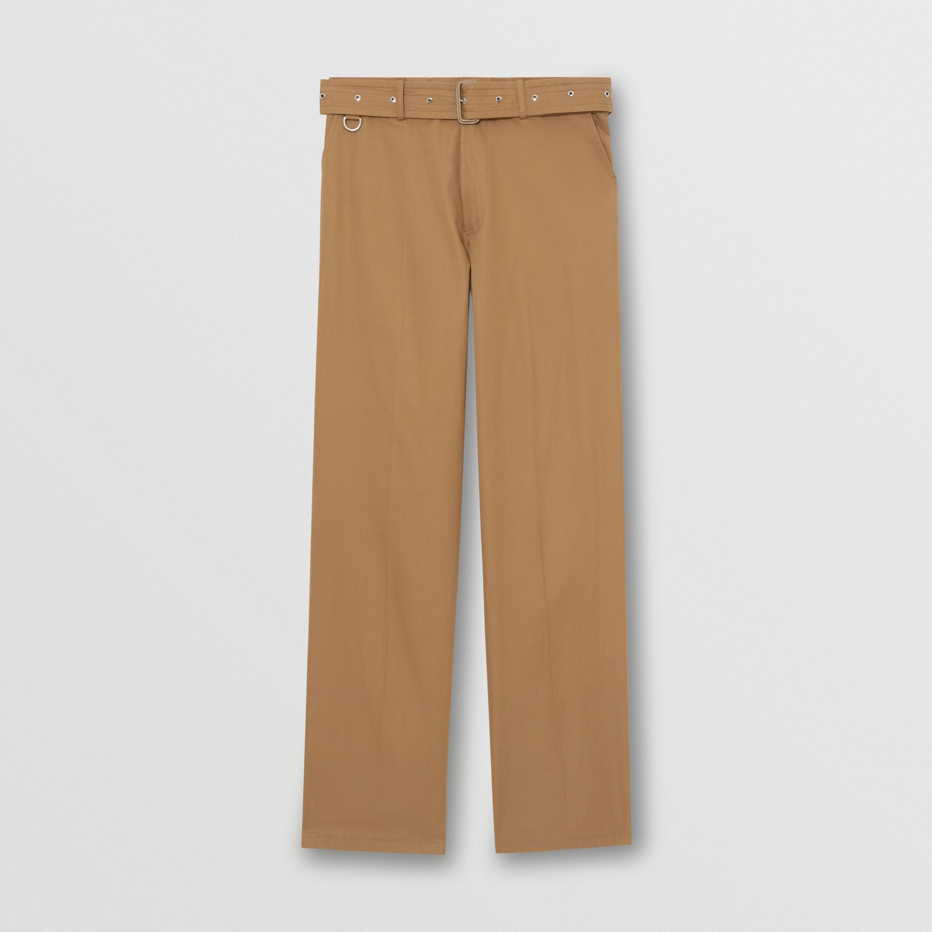 D-ring Detail Belted Cotton Trousers in Toffee | Burberry - gallery image 3