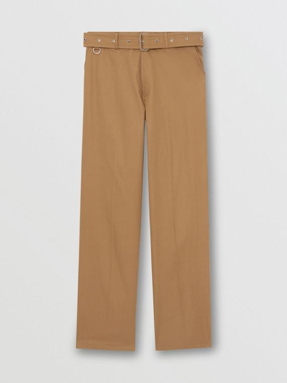 D-ring Detail Belted Cotton Trousers in Toffee