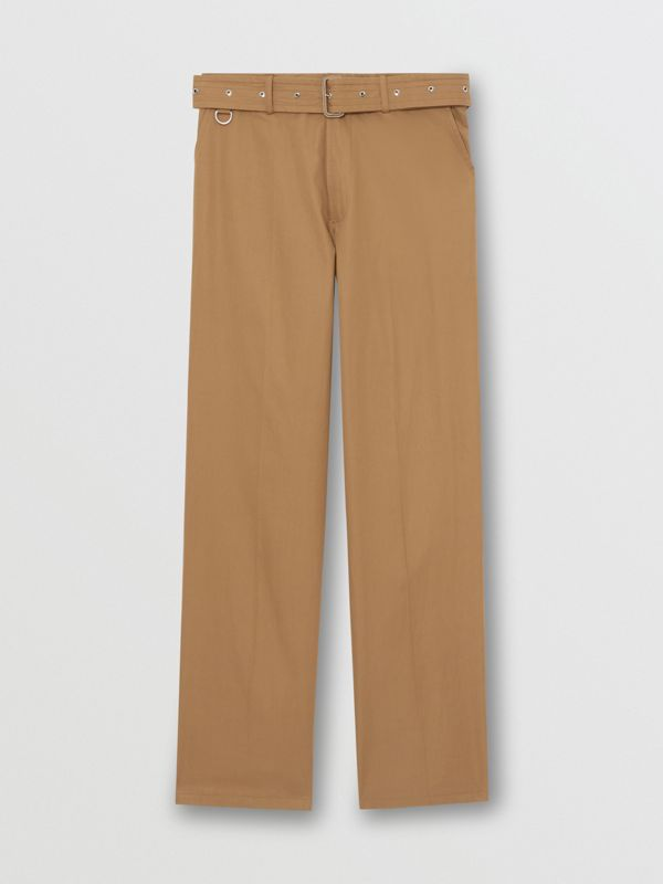 D-ring Detail Belted Cotton Trousers in Toffee | Burberry - cell image 3