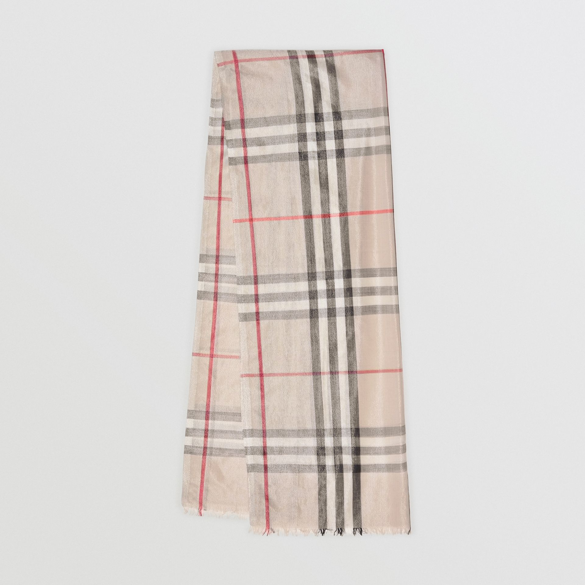 Metallic Check Silk and Wool Scarf in Stone/ Silver | Burberry Singapore - gallery image 0