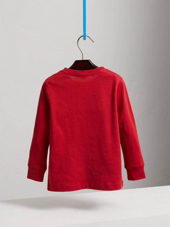 Long-sleeve Check Pocket Cotton T-shirt in Military Red - Boy | Burberry - cell image 3