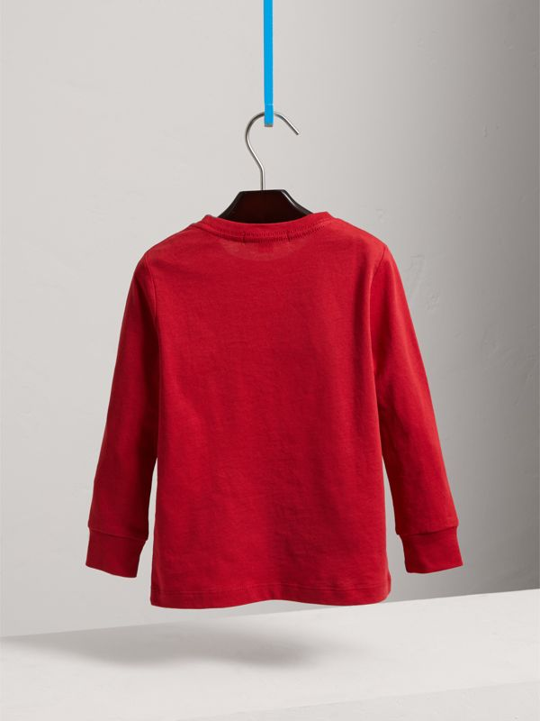 Long-sleeve Check Pocket Cotton T-shirt in Military Red - Boy | Burberry United Kingdom - cell image 3