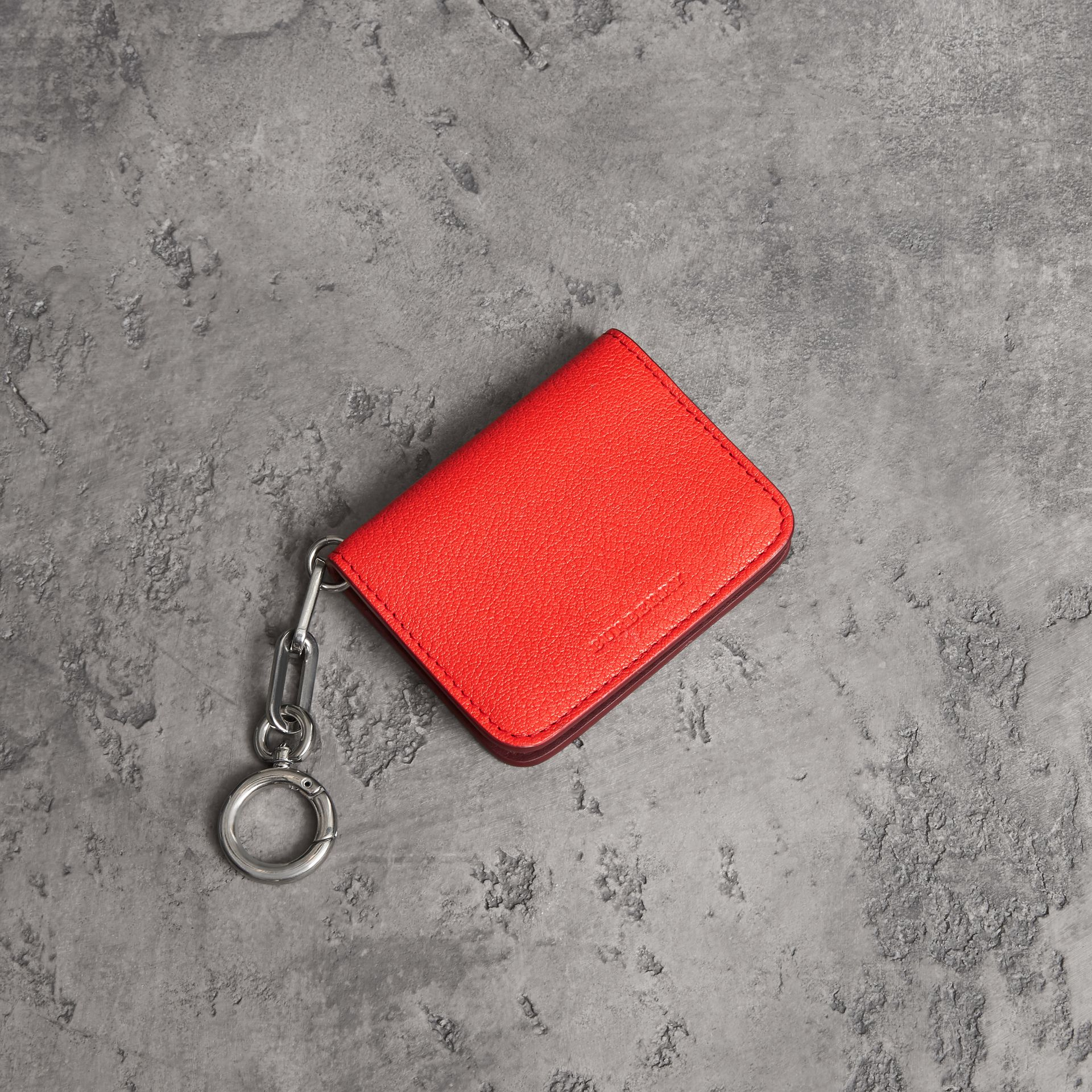Link Detail Leather ID Card Case Charm in Bright Red | Burberry - gallery image 0