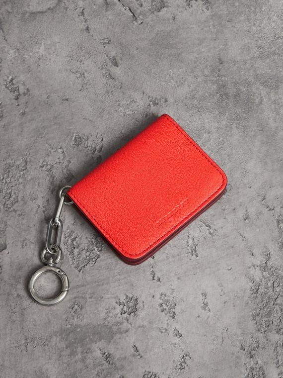 Link Detail Leather ID Card Case Charm in Bright Red
