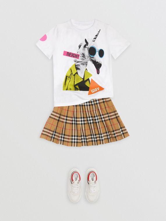 Vintage 格紋打褶裙 (古典黃)