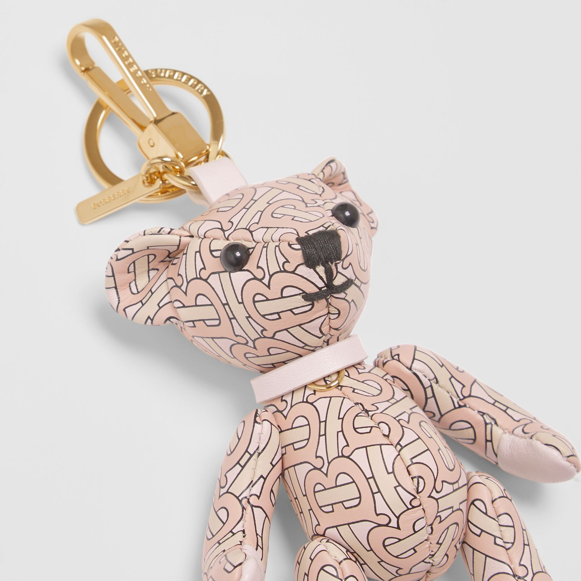 Thomas Bear Charm in Monogram Print Leather in Blush Pink | Burberry - gallery image 1