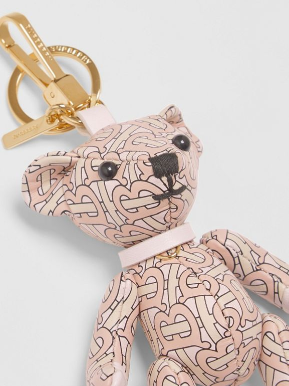 Thomas Bear Charm in Monogram Print Leather in Blush Pink | Burberry - cell image 1