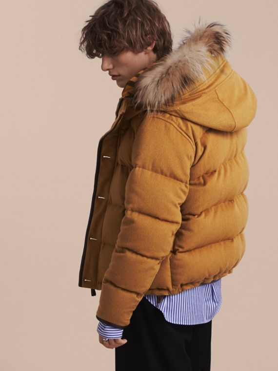 Larch yellow Down-filled Cashmere Jacket with Detachable Fur Trim Larch Yellow - cell image 2