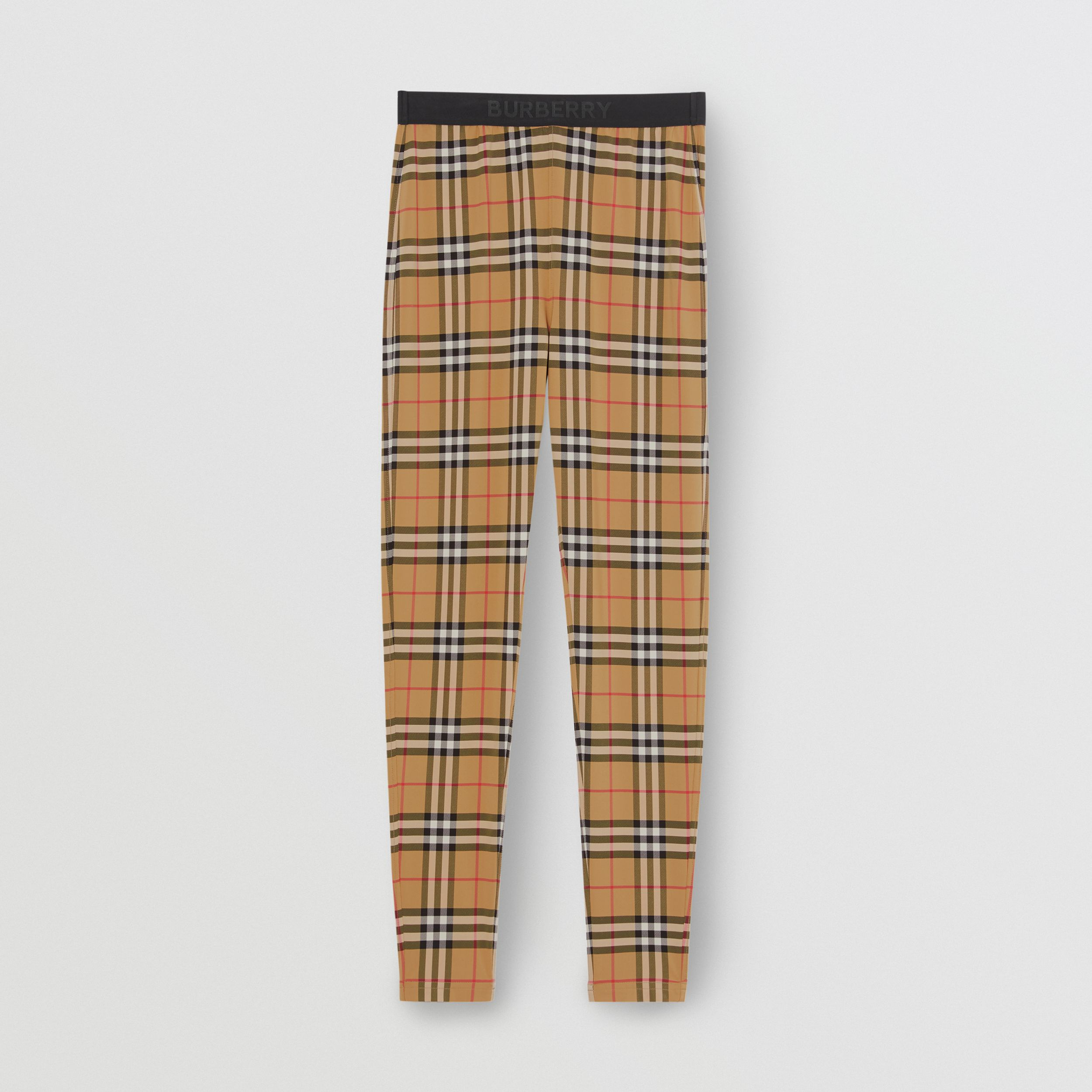Leggings con estampado a cuadros Vintage Checks y detalle de logotipo (Amarillo Antiguo) - Mujer | Burberry - 4