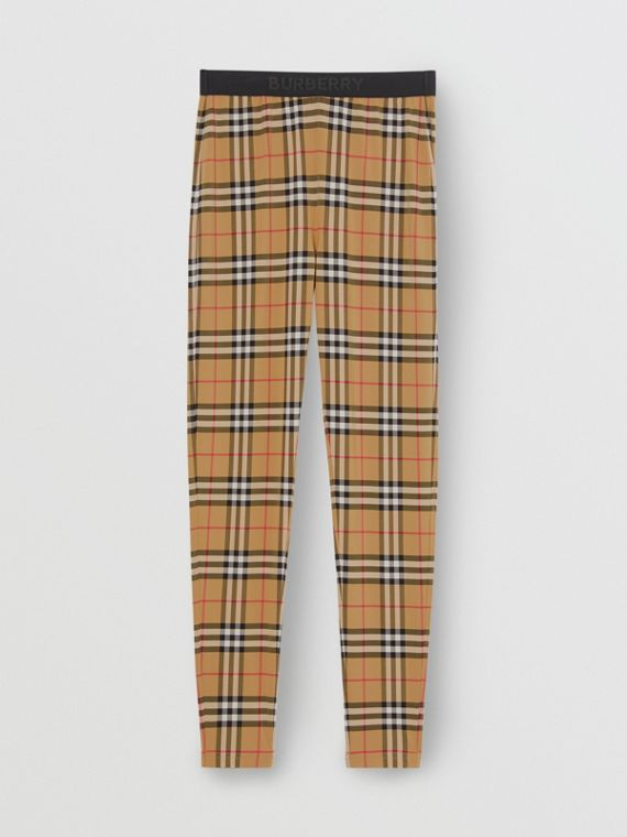 Leggings a cuadros Vintage Checks con cintura de logotipo (Amarillo Antiguo)