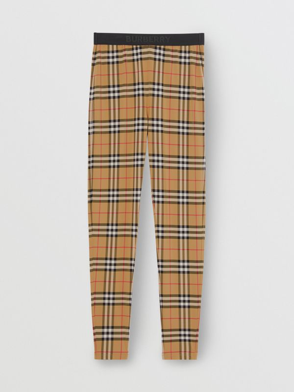 Logo Detail Vintage Check Leggings in Antique Yellow - Women | Burberry United Kingdom - cell image 3