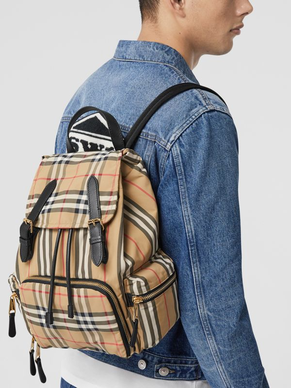 The Medium Rucksack in Vintage Check ECONYL® in Archive Beige - Women | Burberry - cell image 3
