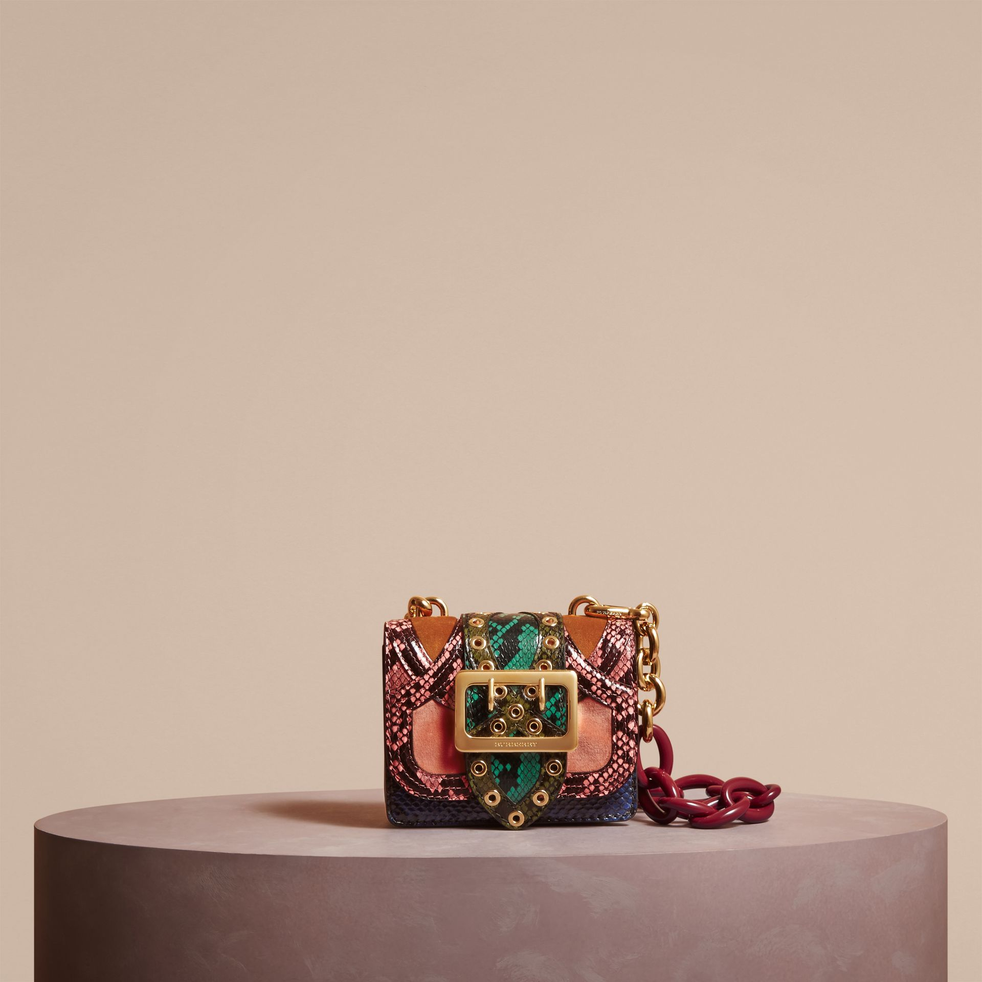 Rose pink The Mini Square Buckle Bag in Snakeskin and Velvet - gallery image 7