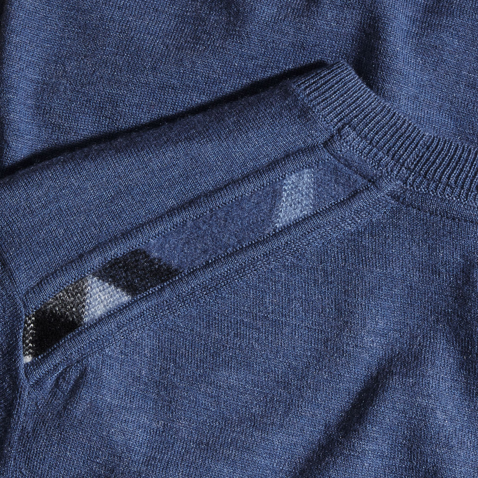 Check Jacquard Detail Cashmere Sweater in Dusty Blue - Men | Burberry - gallery image 1
