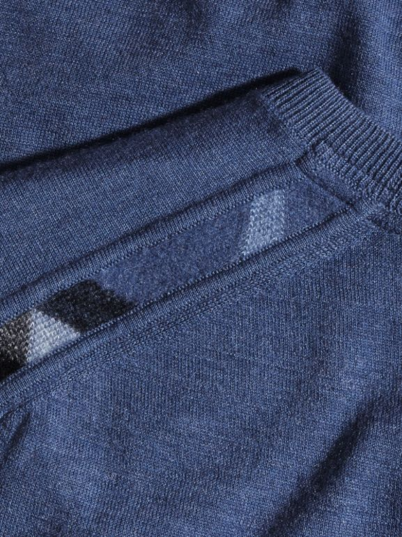 Check Jacquard Detail Cashmere Sweater in Dusty Blue - Men | Burberry United States - cell image 1