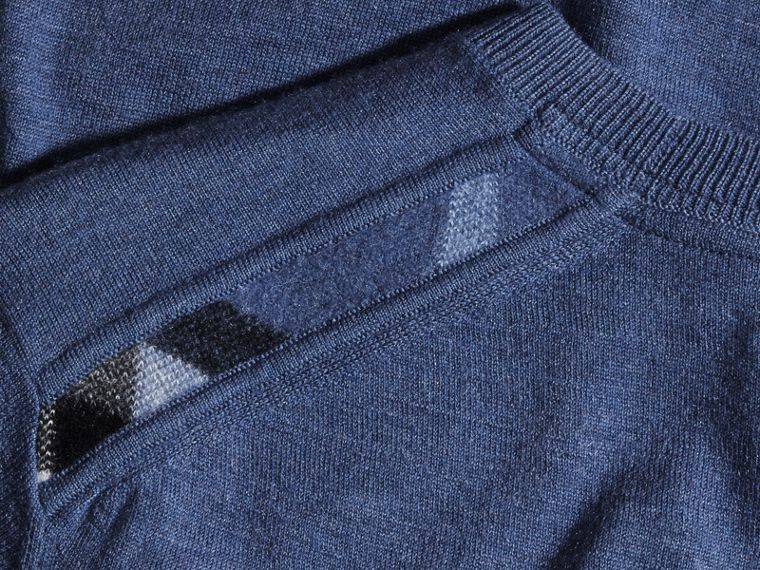 Lightweight Crew Neck Cashmere Sweater with Check Trim in Dusty Blue - cell image 1
