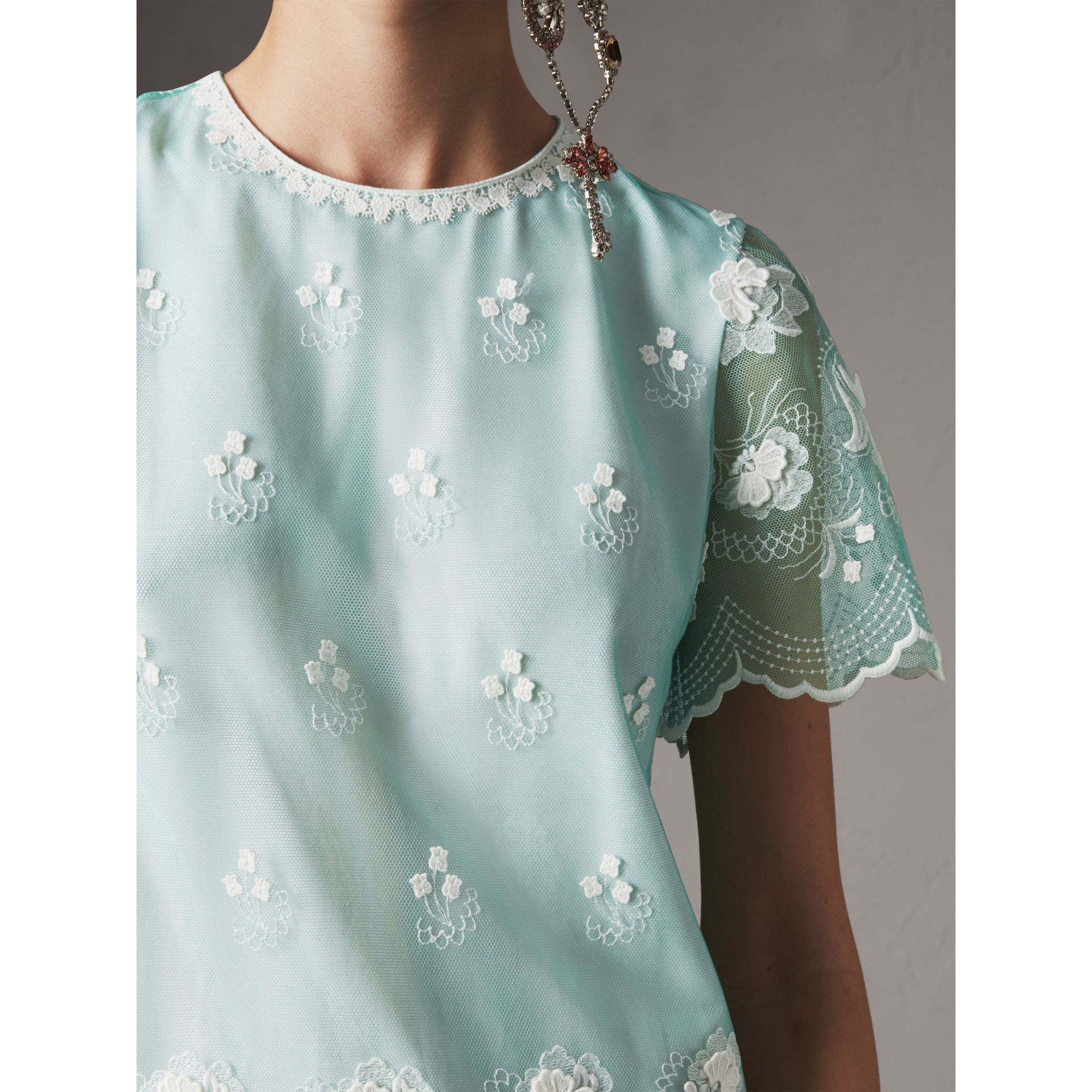 Short-sleeve Embroidered Tulle T-shirt Dress in Green - Women | Burberry United States - gallery image 1