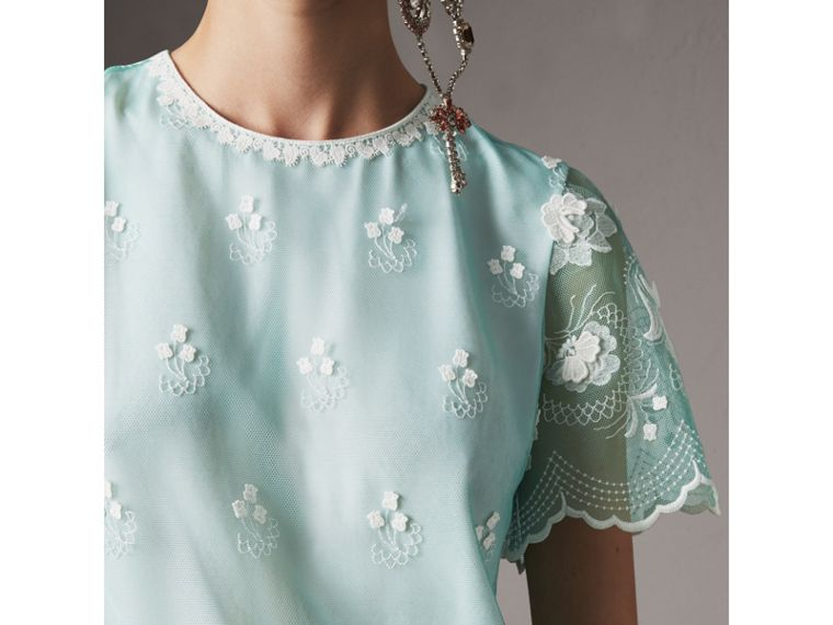 Short-sleeve Embroidered Tulle T-shirt Dress in Green - Women | Burberry - cell image 1