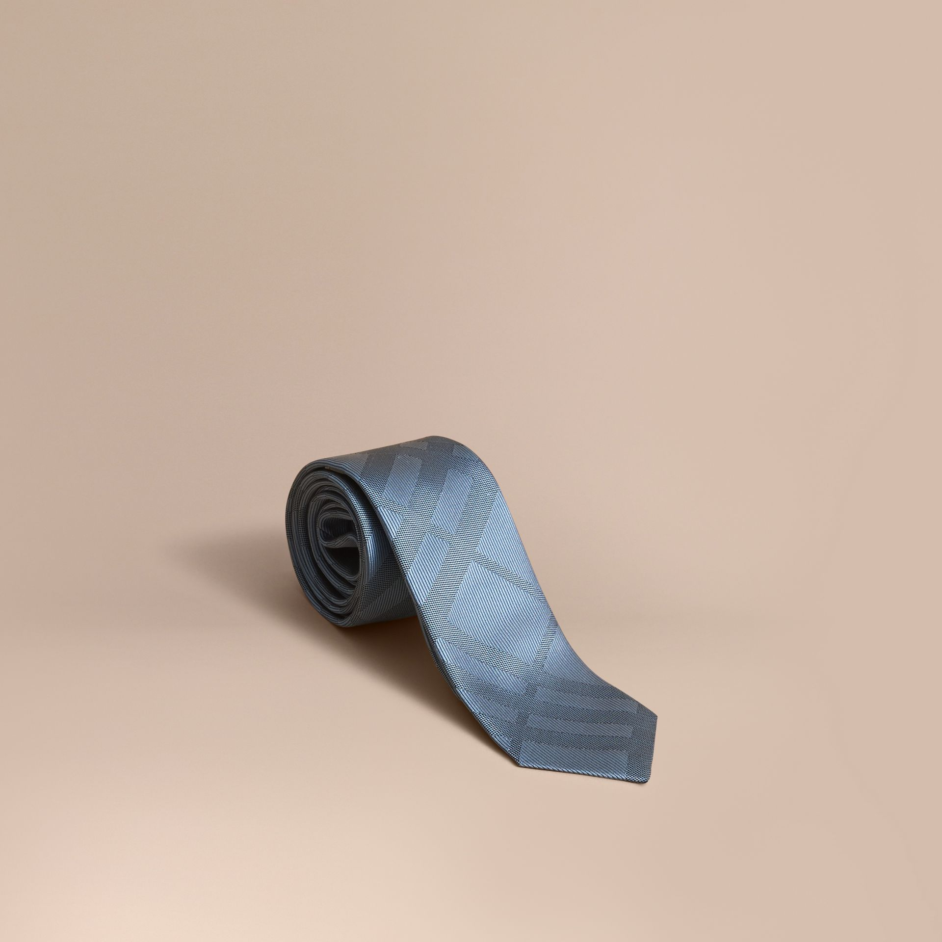 Slim Cut Check Silk Tie in Light Blue - gallery image 1