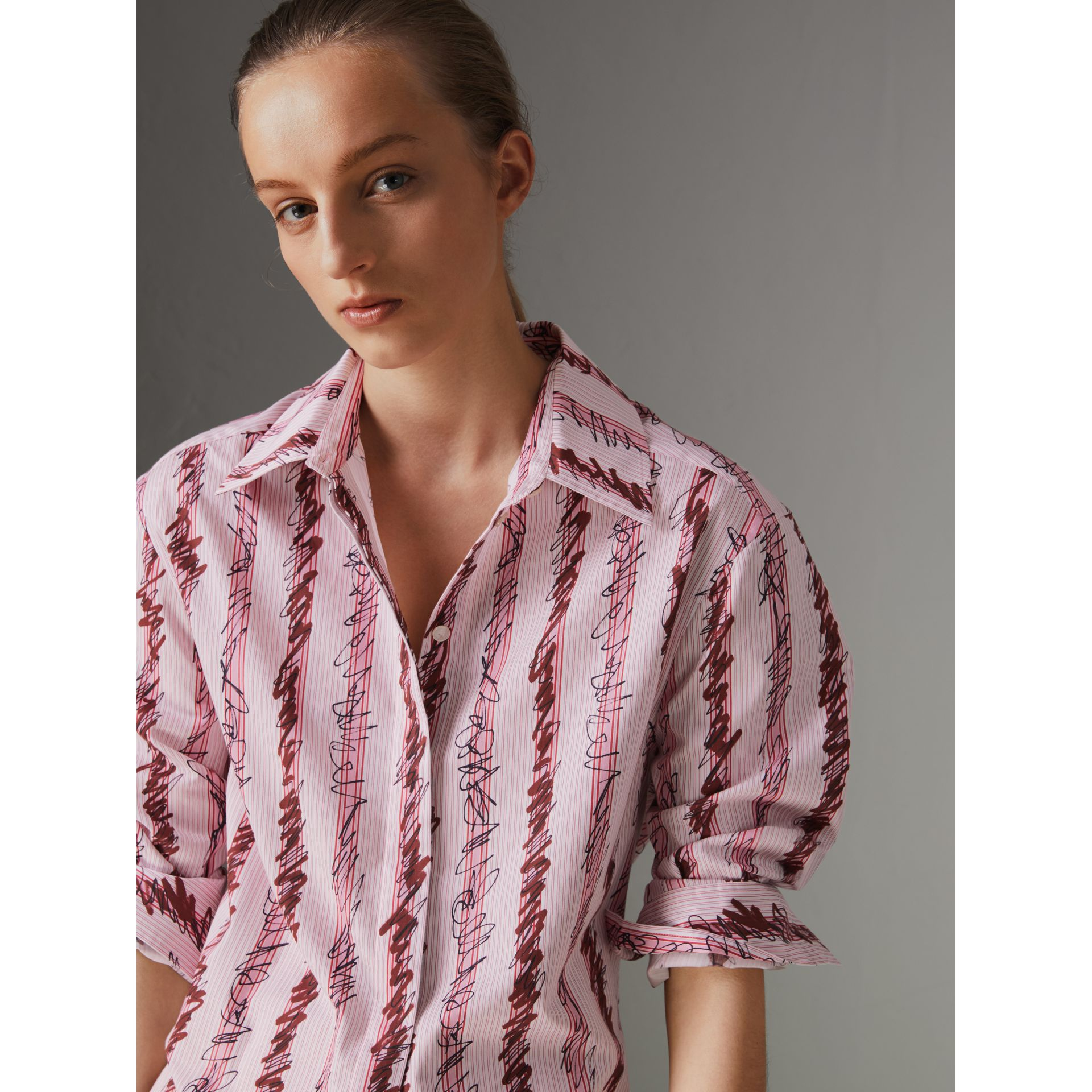 Scribble Stripe Cotton Shirt in Light Pink - Women | Burberry Singapore - gallery image 1
