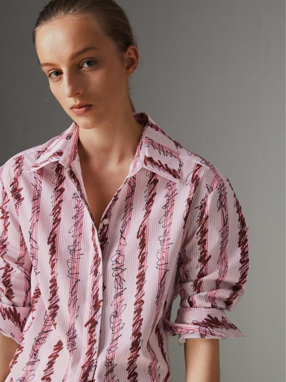 Scribble Stripe Cotton Shirt in Light Pink - Women | Burberry Canada - cell image 1