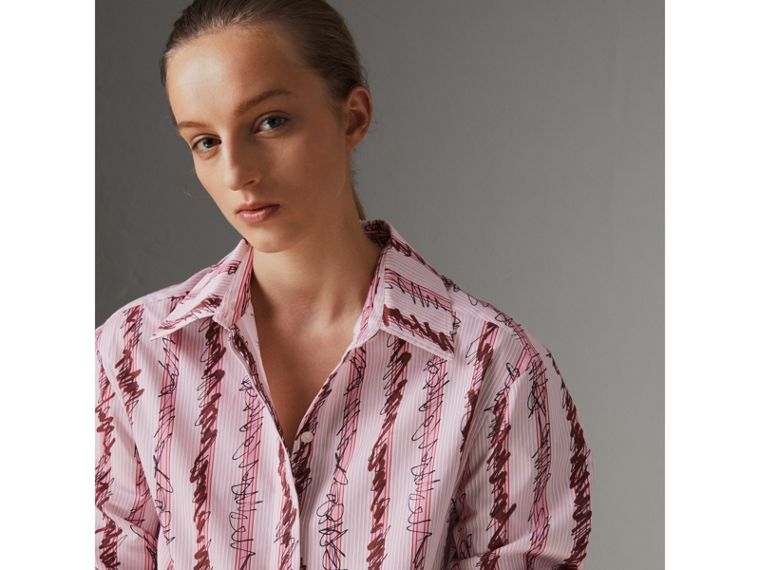 Scribble Stripe Cotton Shirt in Light Pink - Women | Burberry - cell image 1