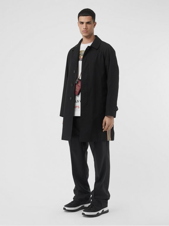 Icon Stripe Detail Tropical Gabardine Car Coat in Black
