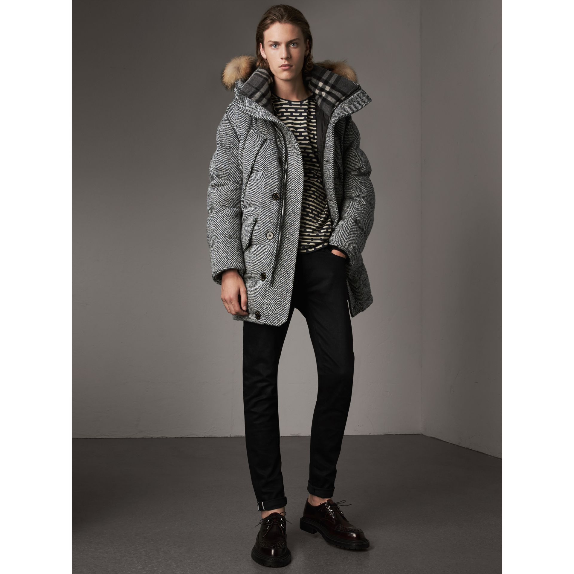 Detachable Fur Trim Hooded Down-filled Cashmere Parka in Natural White/black - Men | Burberry United Kingdom - gallery image 6