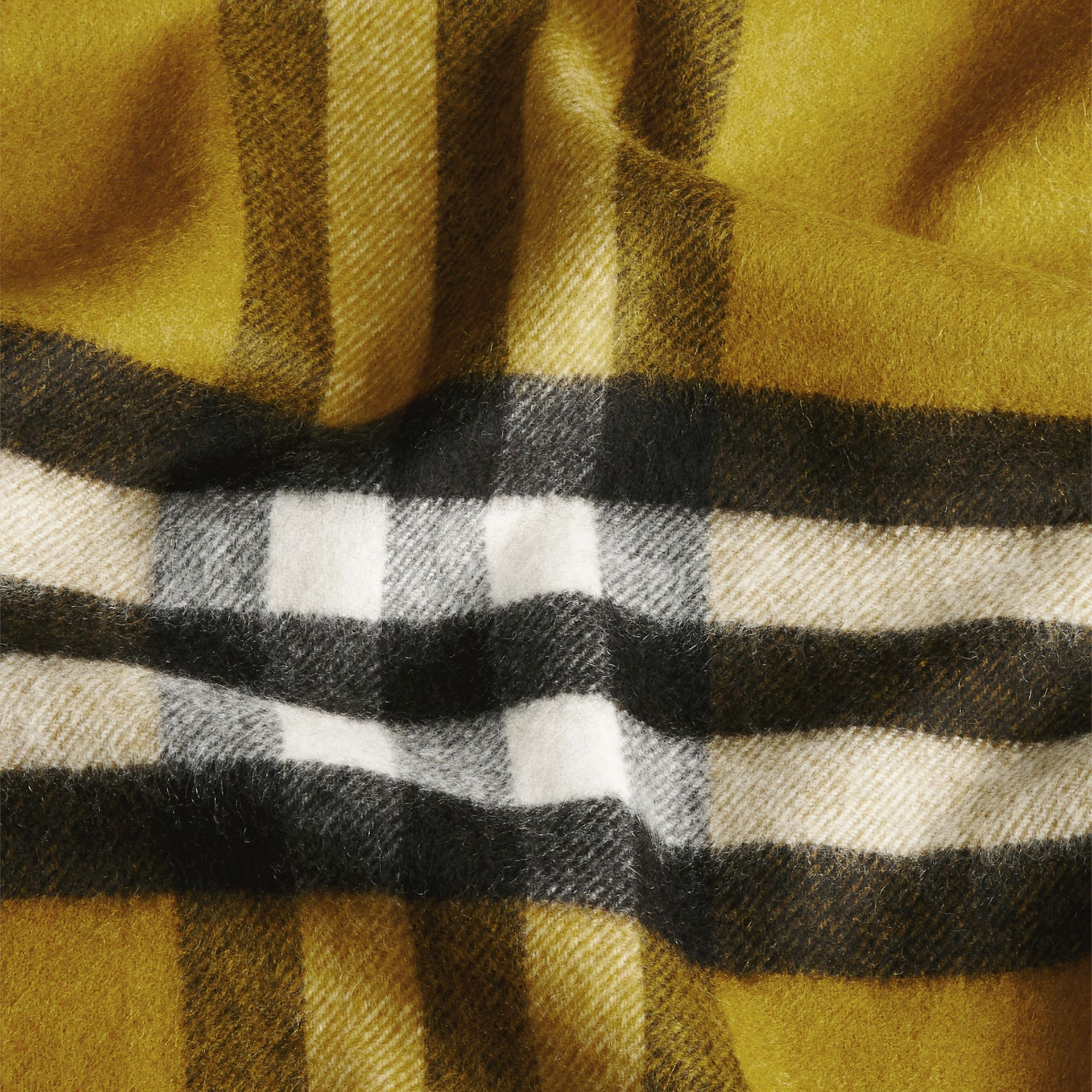 The Classic Cashmere Scarf in Check in Dark Lime - gallery image 5