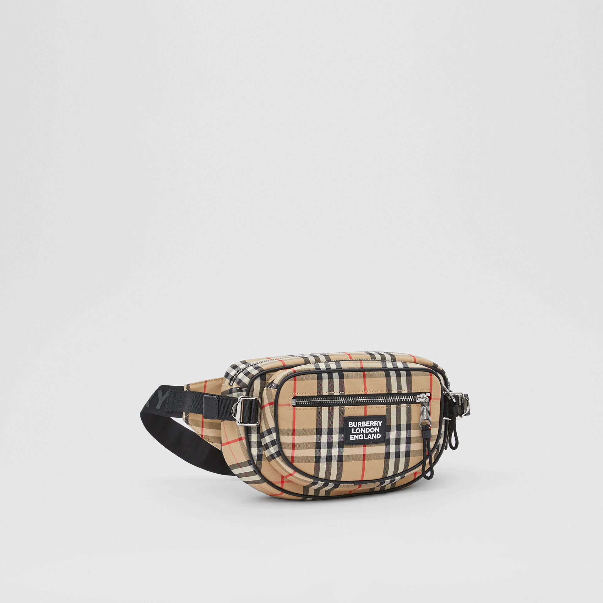 Medium Vintage Check Cotton Cannon Bum Bag in Archive Beige - Men | Burberry - gallery image 8