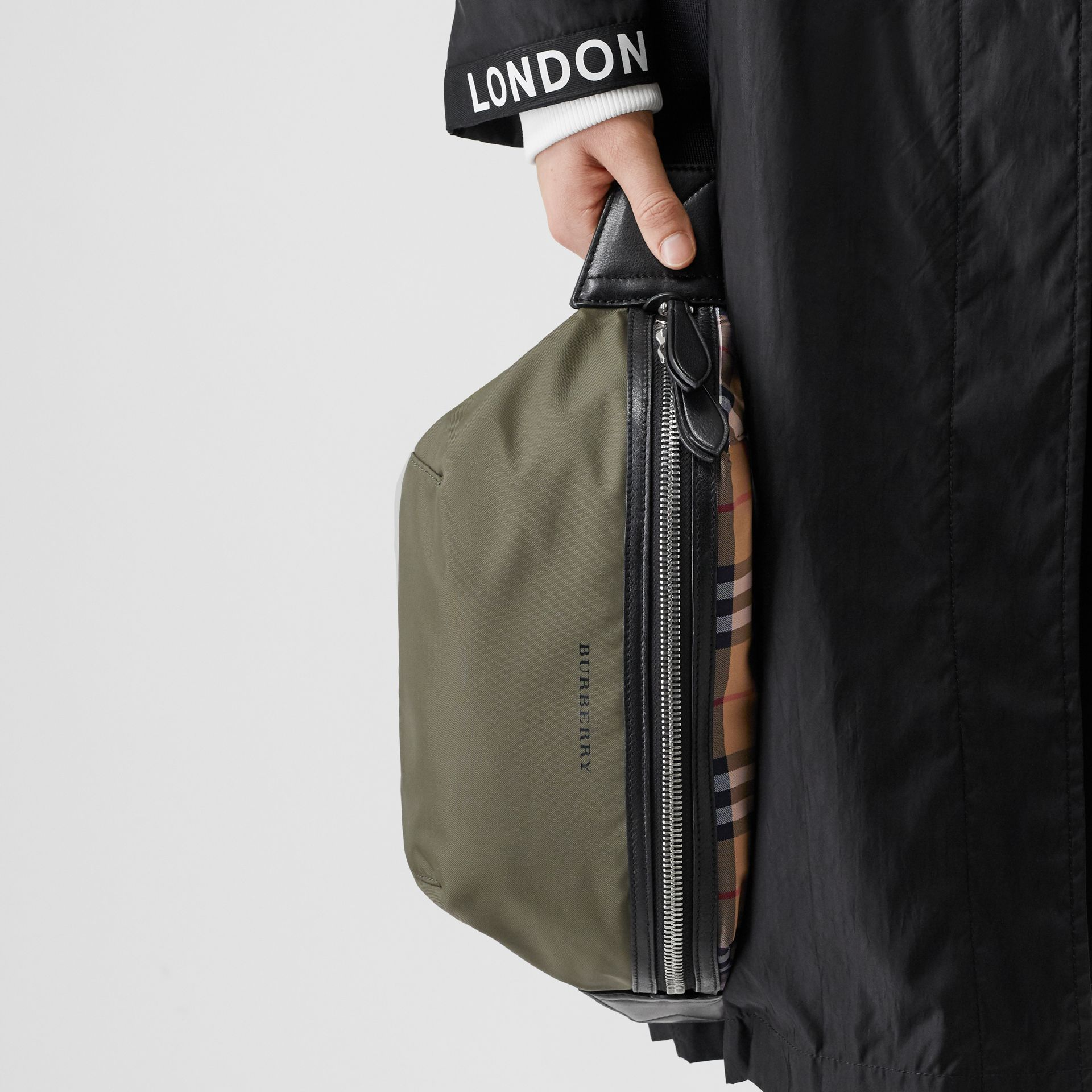 Medium Vintage Check and Nylon Bum Bag in Military Green | Burberry - gallery image 2