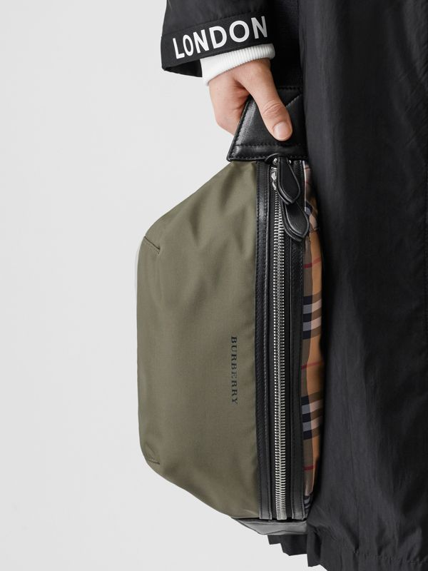 Medium Vintage Check and Nylon Bum Bag in Military Green | Burberry - cell image 2