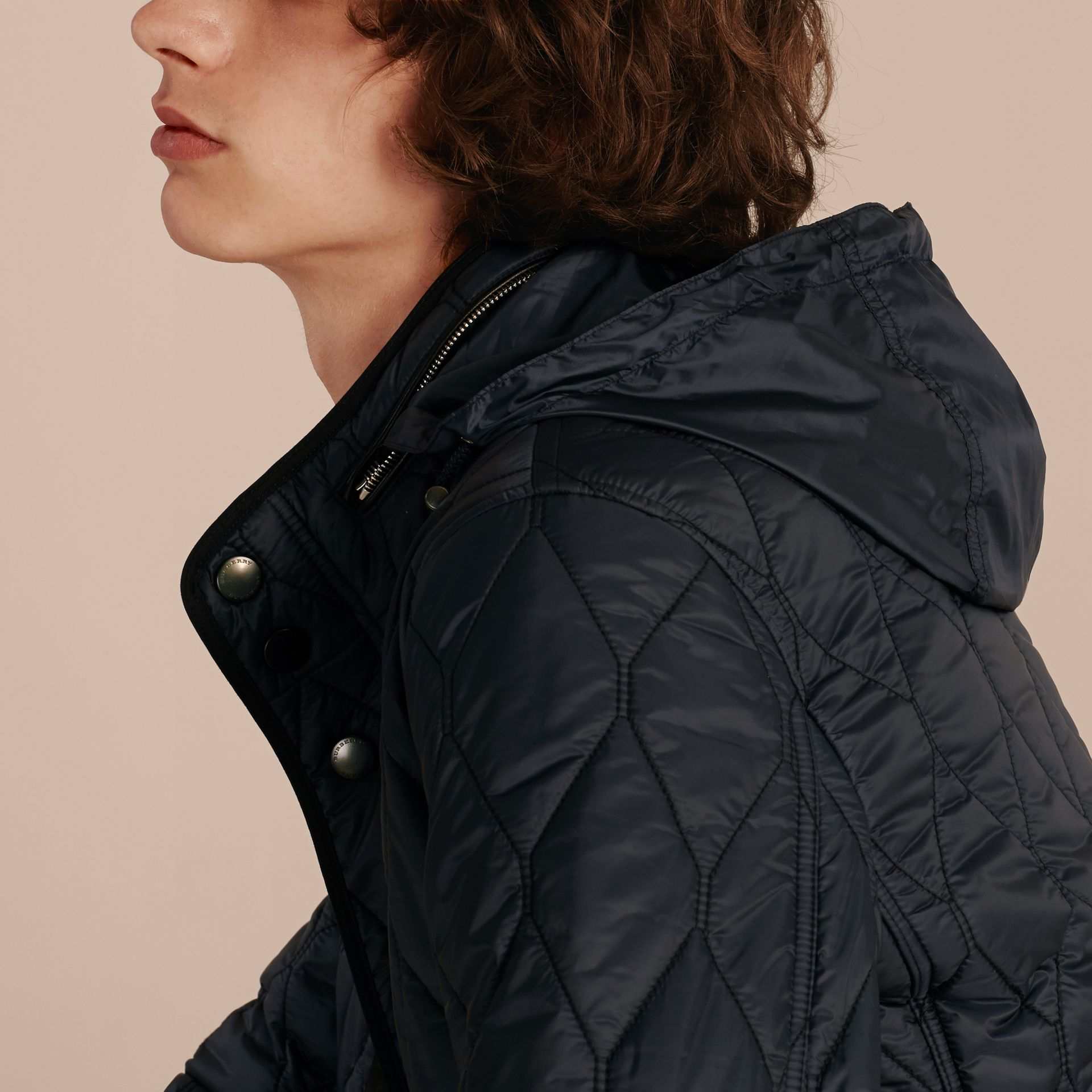 Navy Stand Collar Military Quilted Jacket - gallery image 5