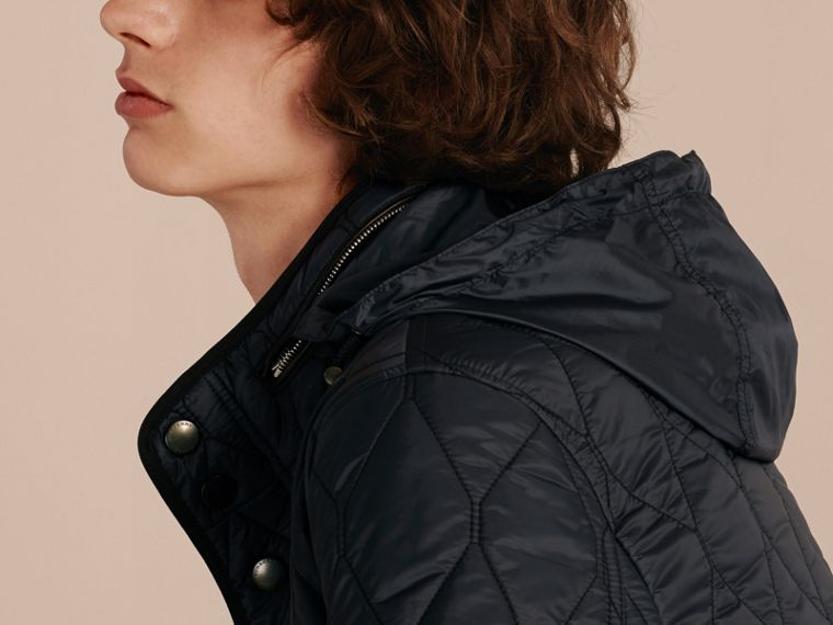 Navy Stand Collar Military Quilted Jacket - cell image 4
