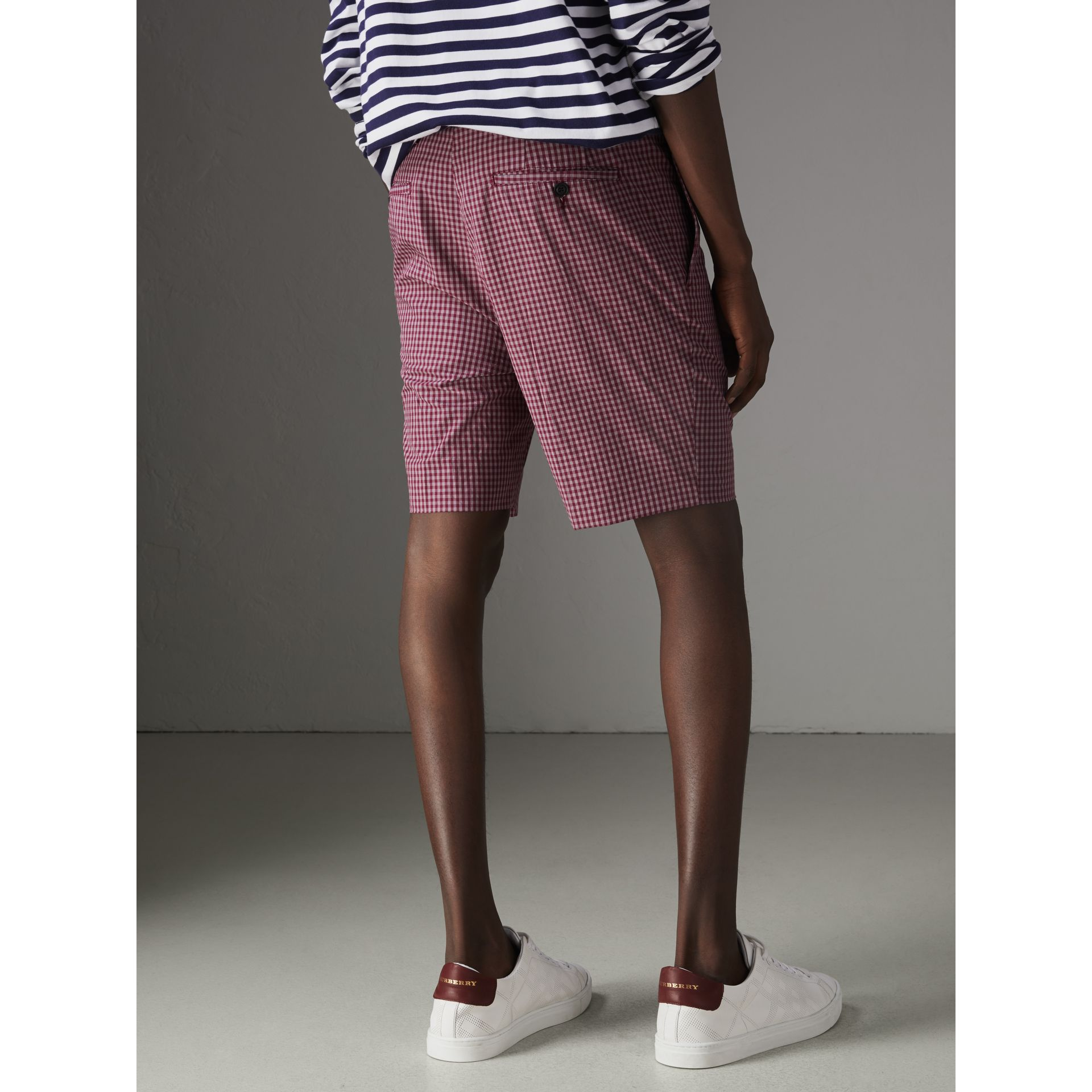 Gingham Cotton Tailored Shorts in Elderberry - Men | Burberry Australia - gallery image 2