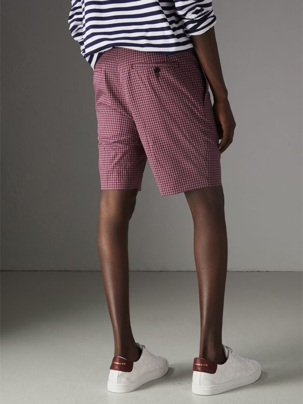 Gingham Cotton Tailored Shorts in Elderberry - Men | Burberry - cell image 2