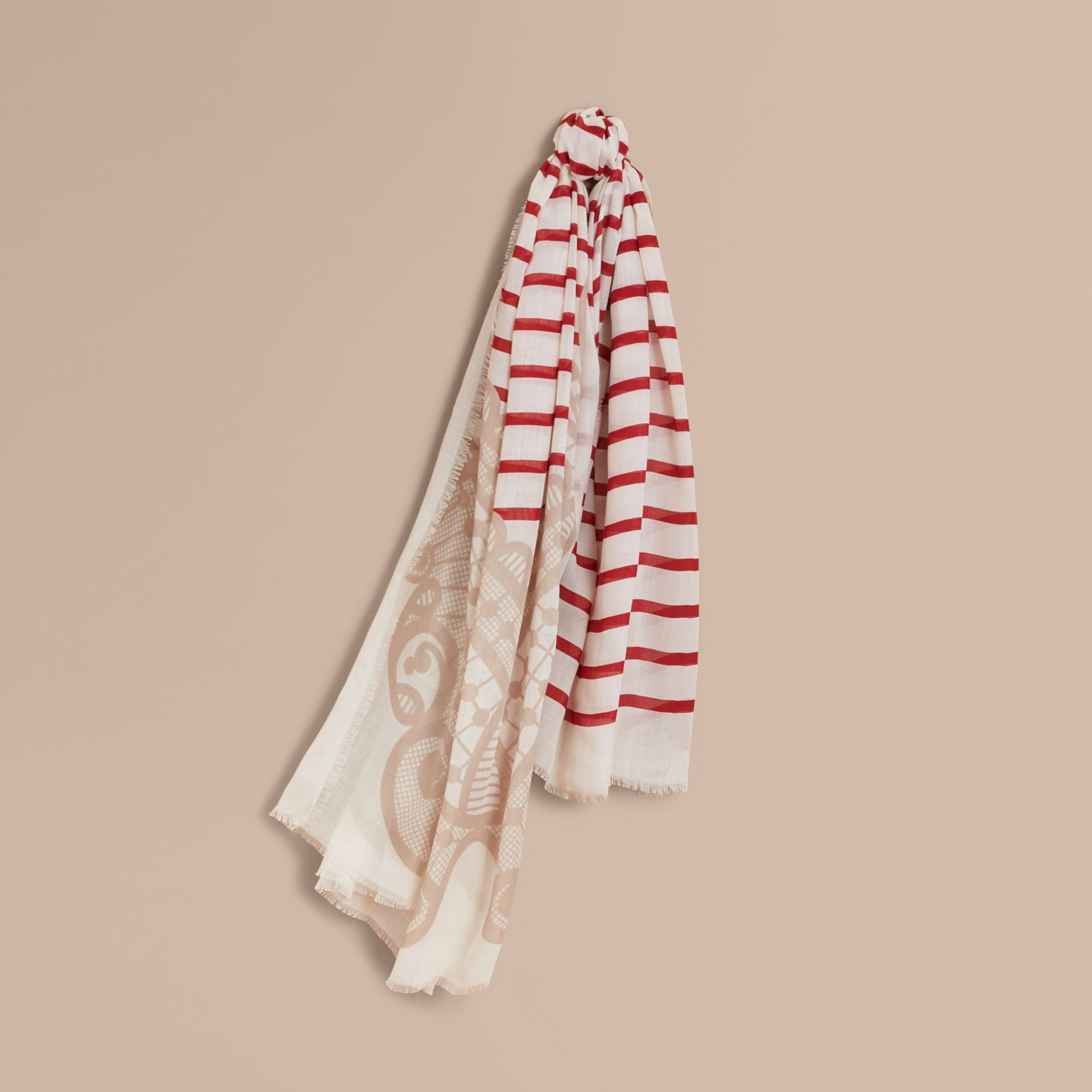 Lace and Breton Stripe Print Cashmere Silk Scarf in Natural White - Women | Burberry - gallery image 1