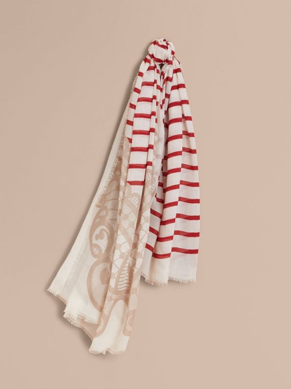 Lace and Breton Stripe Print Cashmere Silk Scarf