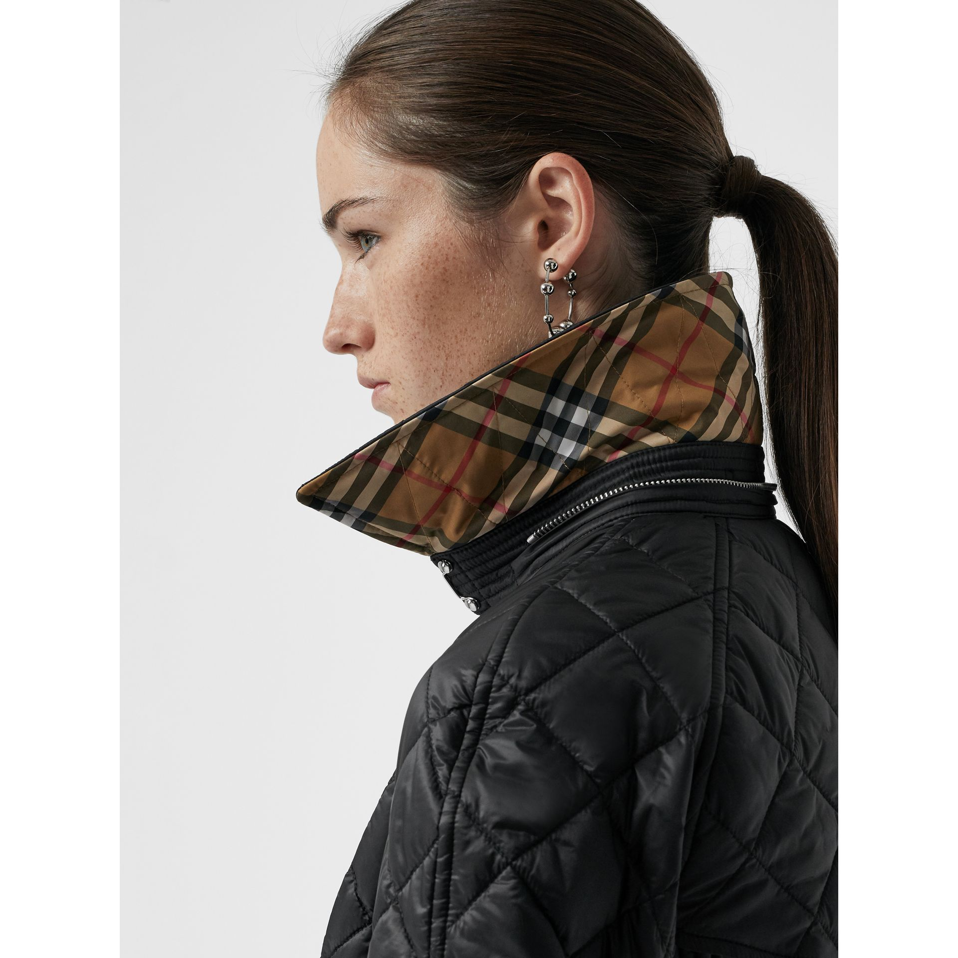Detachable Hood Lightweight Diamond Quilted Coat in Black - Women | Burberry - gallery image 4