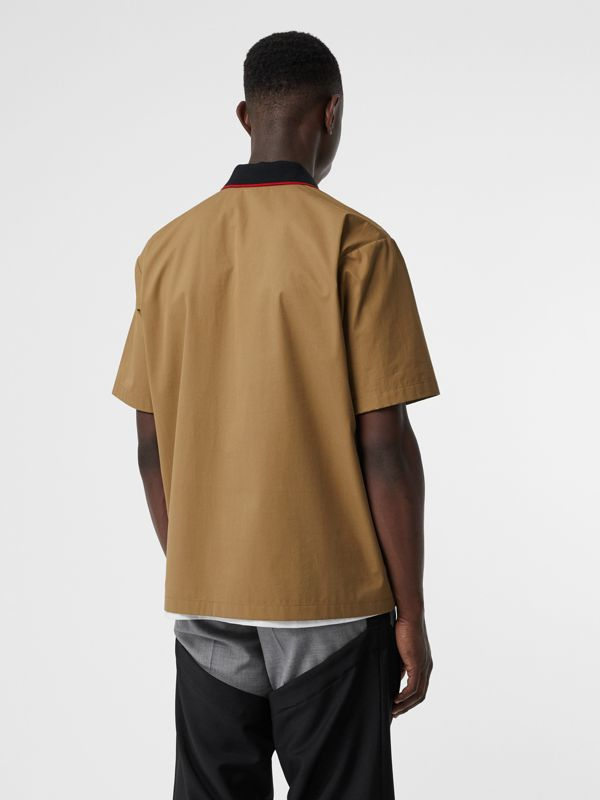 Short-sleeve Montage Print Cotton Shirt in Toffee | Burberry - cell image 2