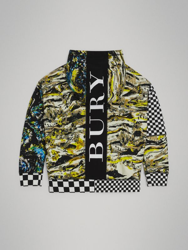 Graphic Print Cotton Hooded Top in Multicolour | Burberry - cell image 3