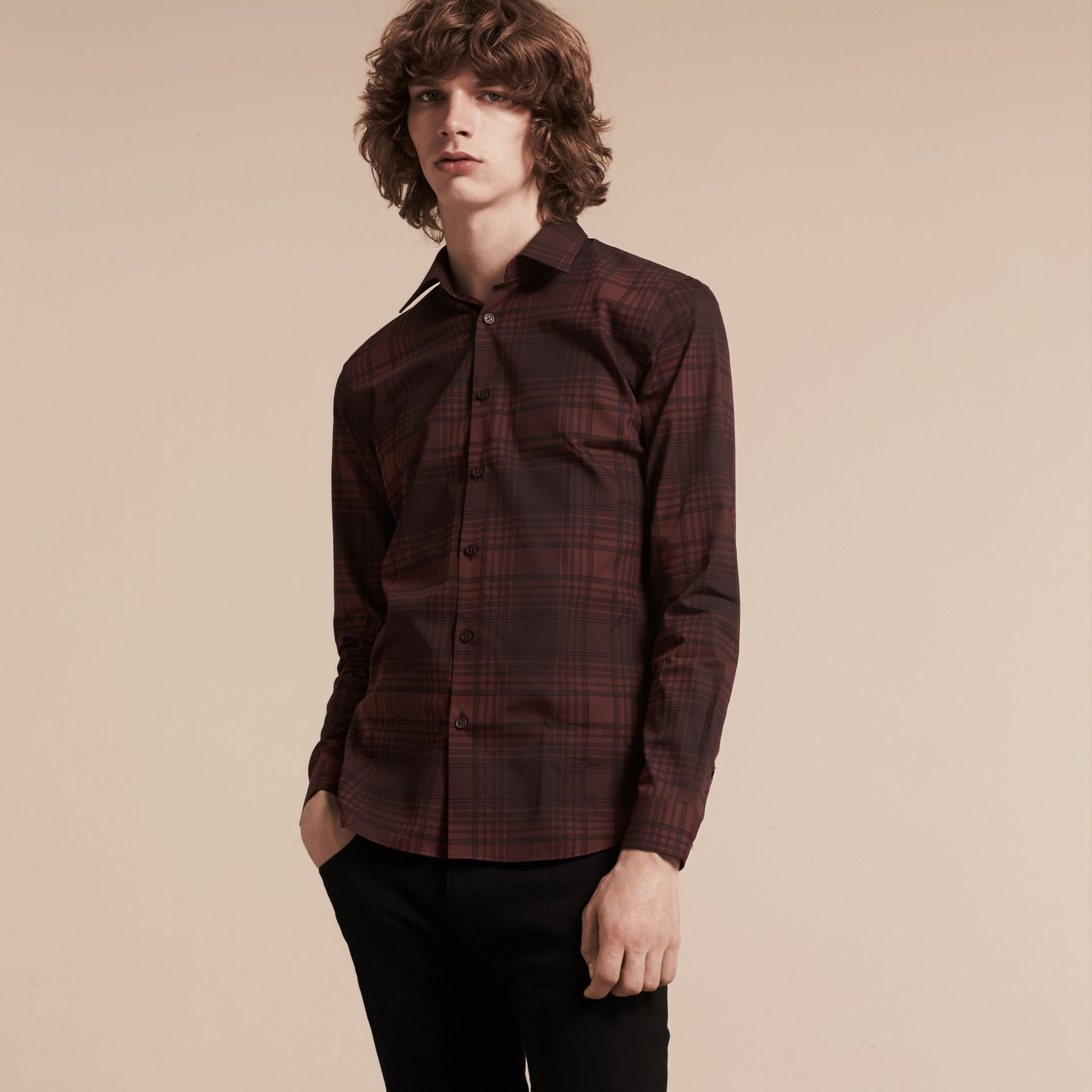Crimson red Check Lightweight Cotton Silk Shirt Crimson Red - gallery image 6