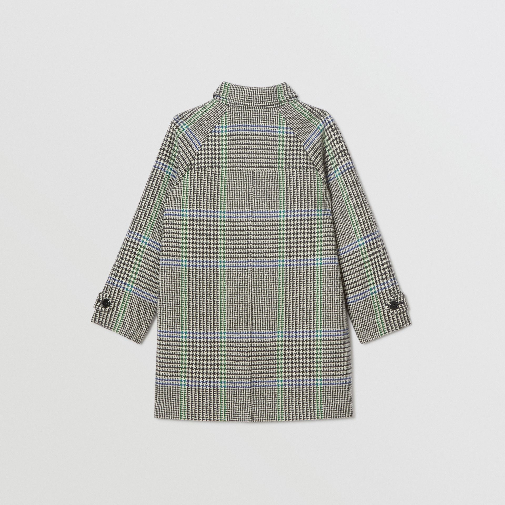 Houndstooth Check Wool Blend Car Coat in Clover Green | Burberry - gallery image 2