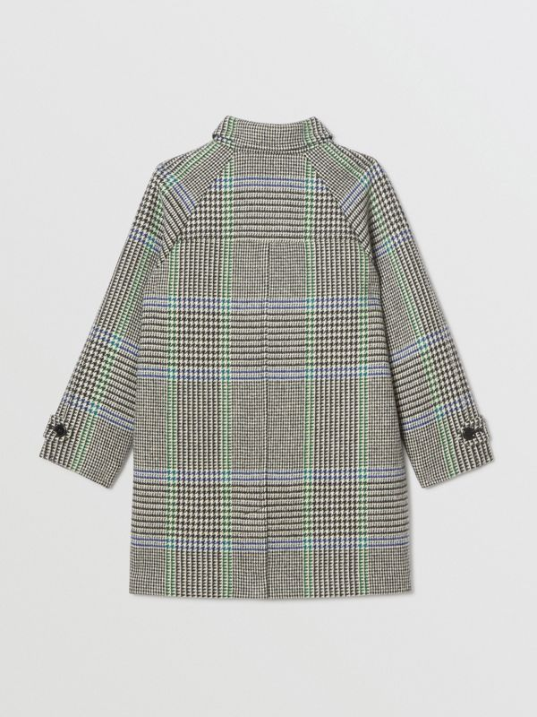 Houndstooth Check Wool Blend Car Coat in Clover Green | Burberry - cell image 2