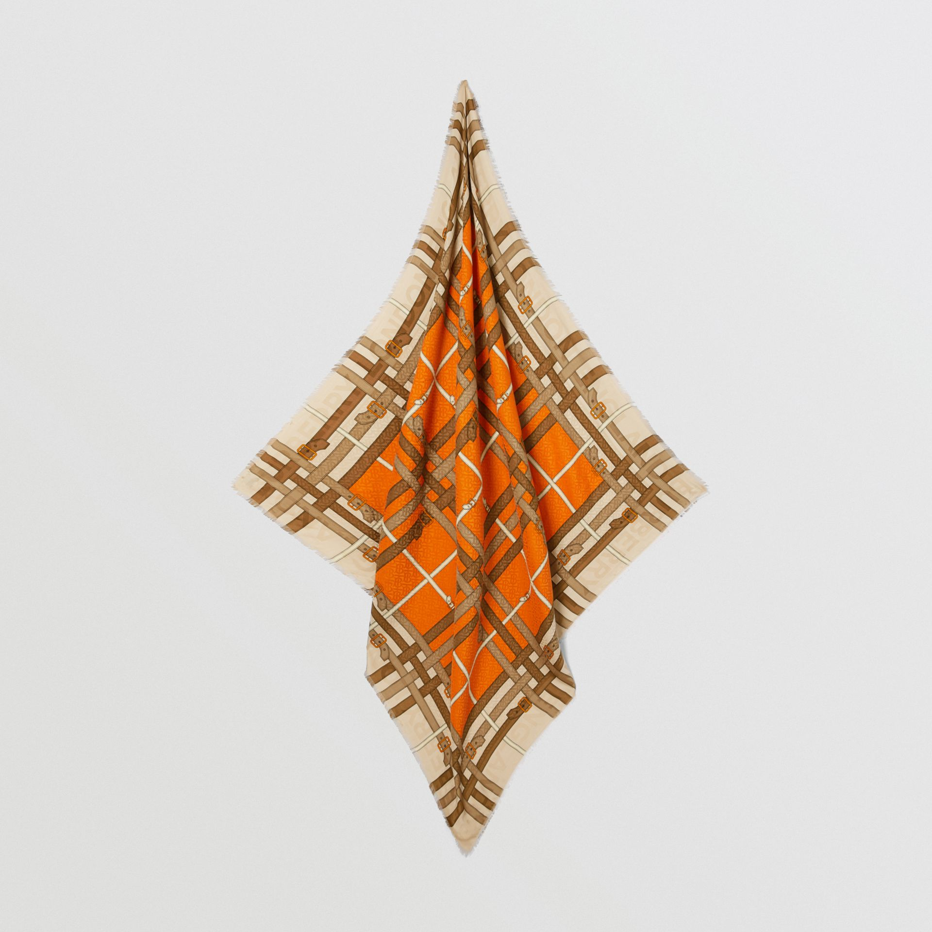 Archive Scarf Print Silk Wool Large Square Scarf in Bright Orange | Burberry - gallery image 2
