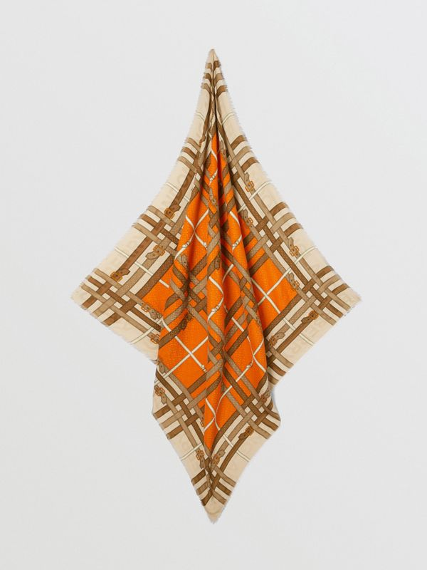 Archive Scarf Print Silk Wool Large Square Scarf in Bright Orange | Burberry - cell image 2