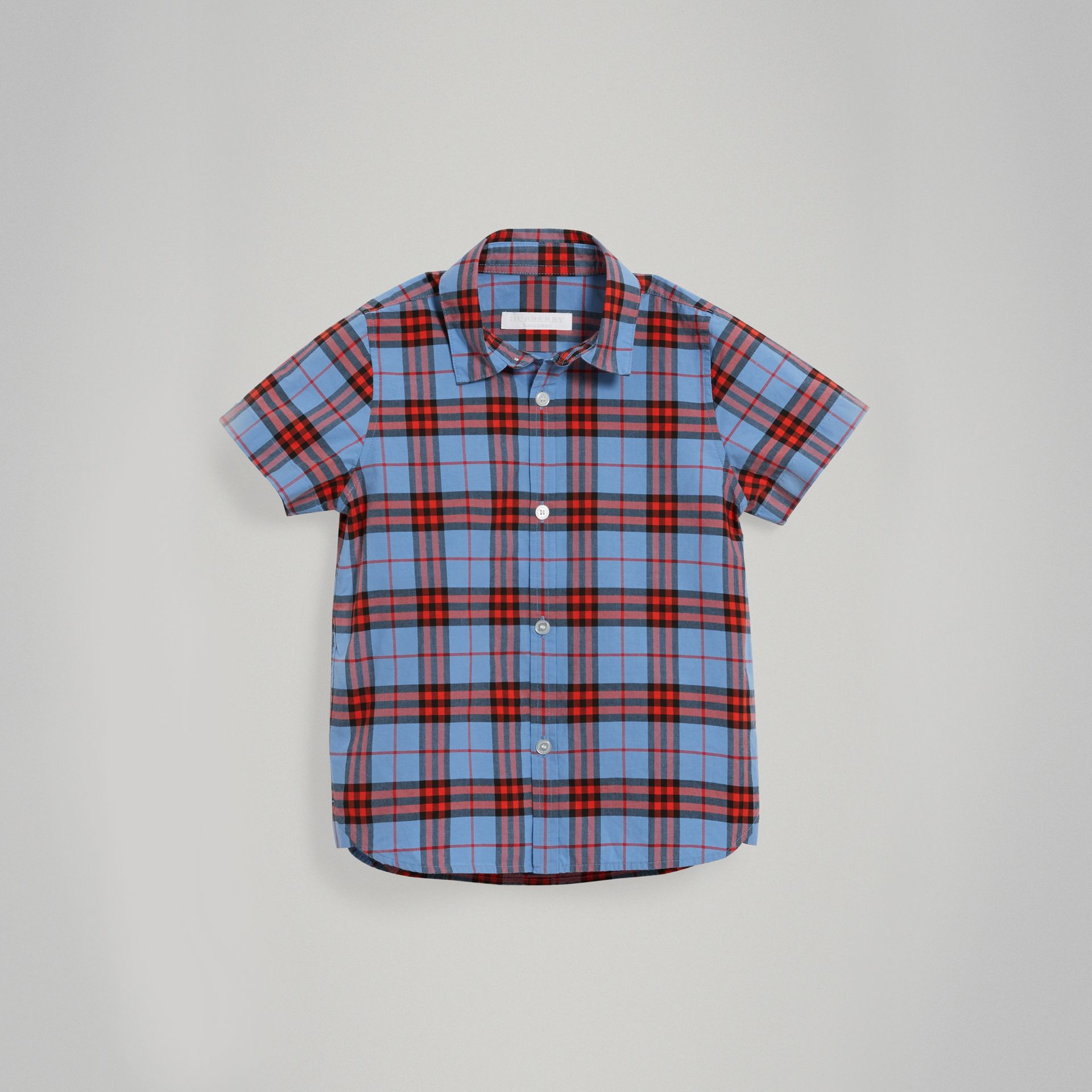 Short-sleeve Check Cotton Shirt in Cornflower Blue - Boy | Burberry - gallery image 0