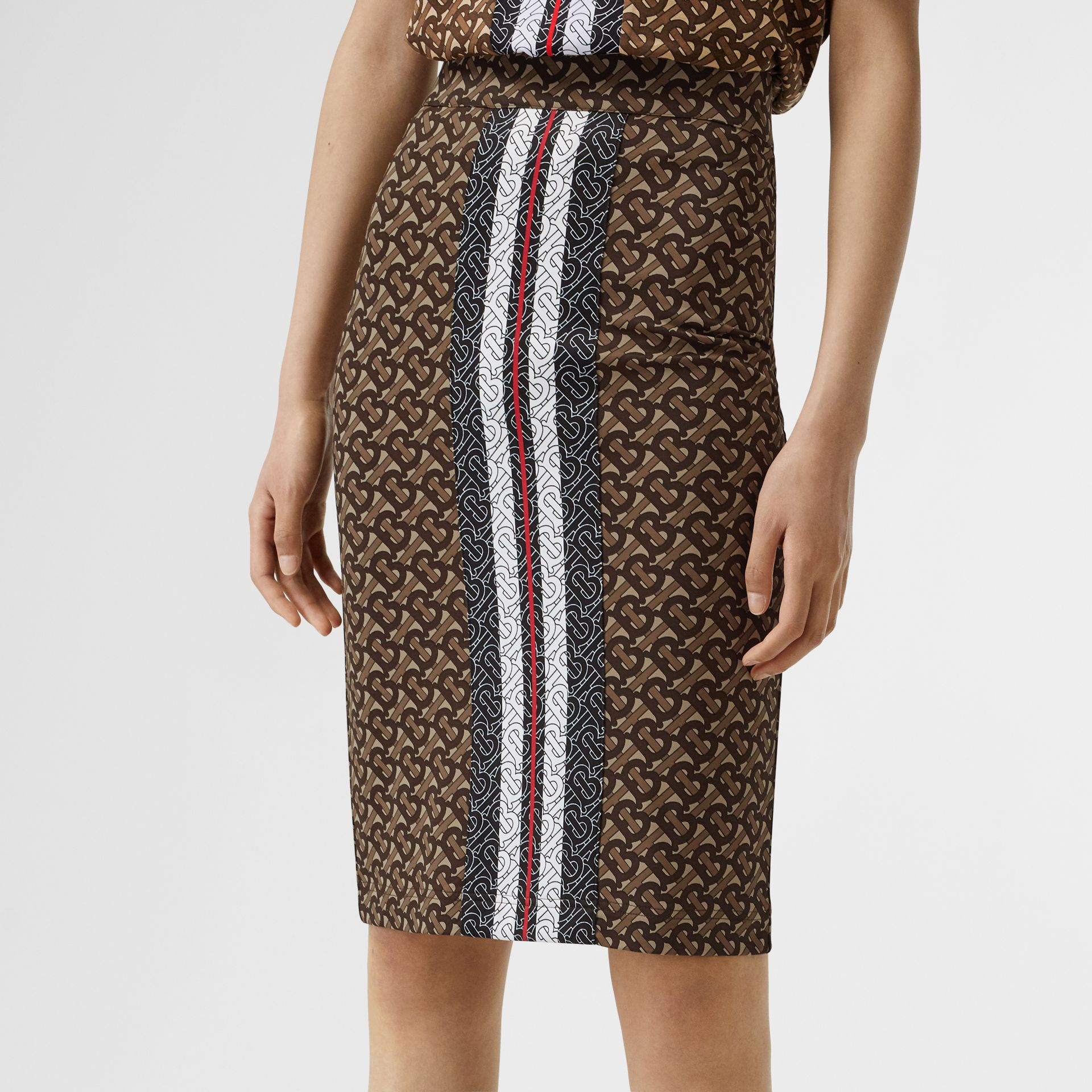 Monogram Stripe Print Stretch Jersey Pencil Skirt in Bridle Brown - Women | Burberry United Kingdom - gallery image 1