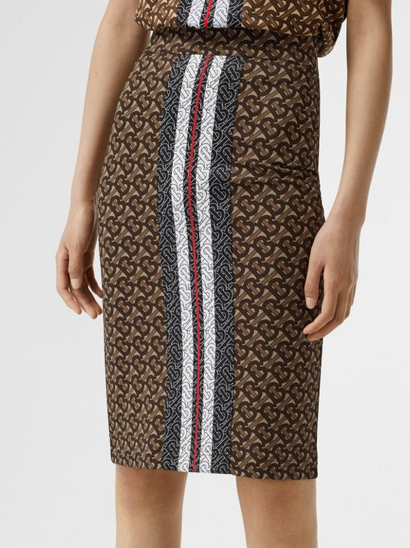 Monogram Stripe Print Stretch Jersey Pencil Skirt in Bridle Brown - Women | Burberry - cell image 1