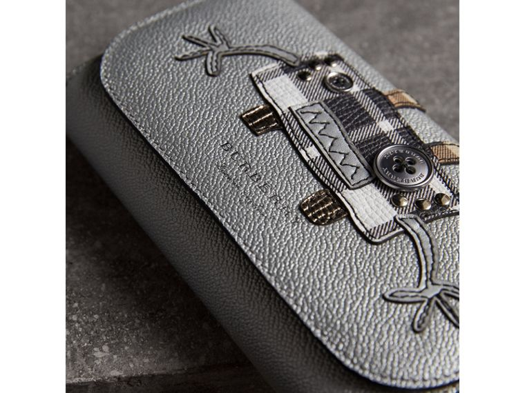 Creature Appliqué Metallic Leather Wallet with Chain in Silver/multicolour - Women | Burberry - cell image 1